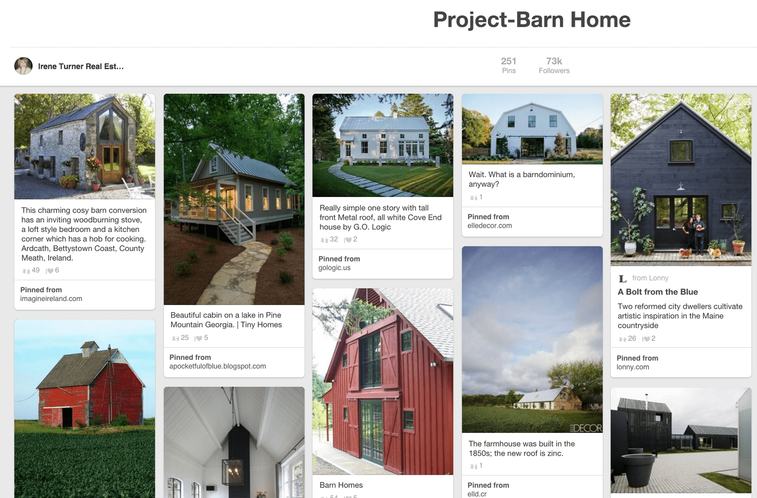 How Does Pinterest Work? Example of Pinterest board for barn homes.