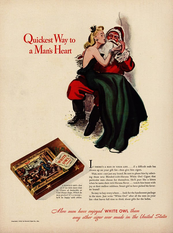 Vintage holiday ads: Mrs Clause and Santa